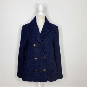 ZARA blue textured wool double breasted peacoat